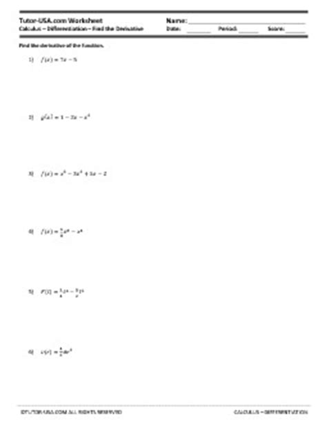 Worksheet Derivatives  Basic Differentiation  Product, Quotient, Chain Rule  Calculus Printable