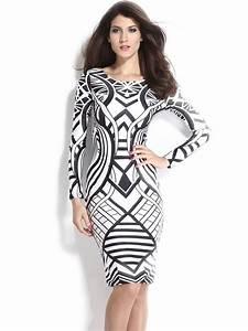 Tribal Aztec Black White Tight-fitting Midi Dress E6547