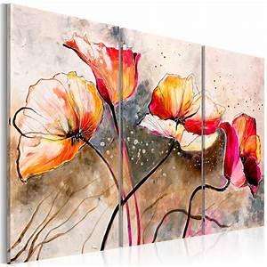 Tableau Fleurs Moderne : tourdissant tableaux coquelicots modernes avec peinture ~ Teatrodelosmanantiales.com Idées de Décoration