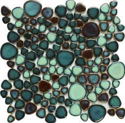 Iridescent Tiles Backsplash Uk by Green Porcelain Tile Pebbles Bath Wall Backsplash Tiles