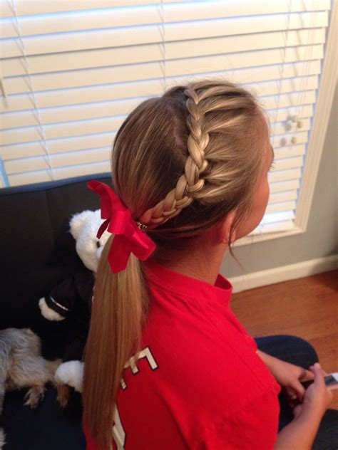 softball hair only french braid hair in from front