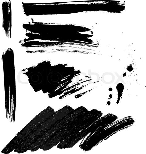brush strokes  ink splatter set stock vector colourbox