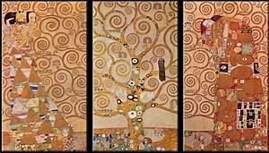 Reproduction Tableau Sur Toile : tableau triptyque reproduction arbre de vie de gustav klimt toile toile ~ Teatrodelosmanantiales.com Idées de Décoration