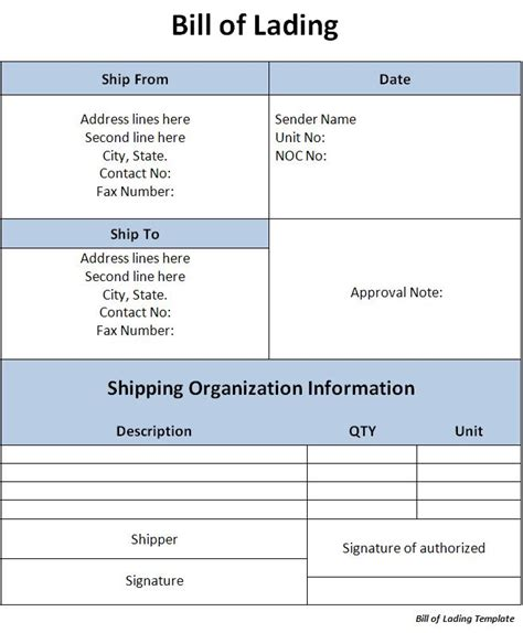 bill of lading template bill of lading template word excel formats