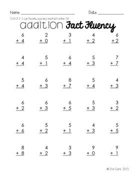 fact fluency practice addition subtraction facts to 20