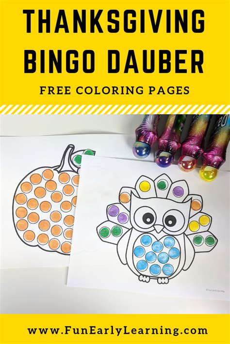 thanksgiving bingo dauber coloring pages art therapy
