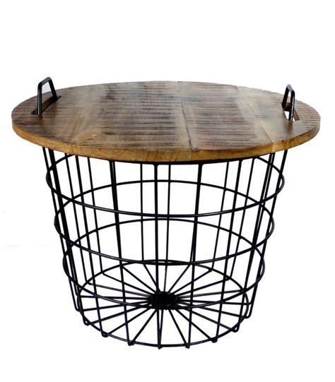 panier de basket de bureau table basse ronde style industriel en bois et métal flexo