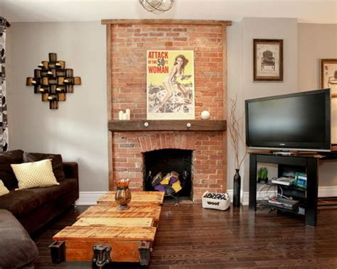 exposed brick chimney houzz