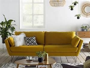 20 fauteuils et canapes jaunes pour le salon canape for Canapé 3 places pour idée déco tableau salon