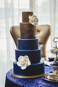 Royal Blue and Gold Wedding Cake - Belle The Magazine