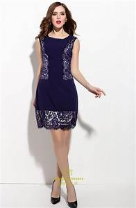 Navy Blue Sleeveless Ruched Sheath Dress With Lace ...