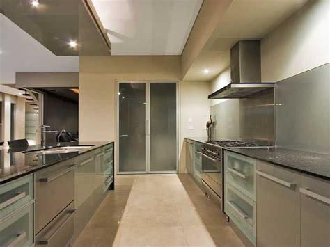 Modern Galley Kitchen Design Using Frosted Glass Kitchen