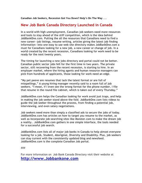 press release jobbankone bank canada directory