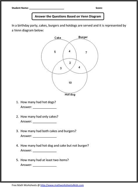 venn diagram word problems school math worksheets