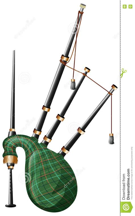 Scottish Bagpipe On White Background Vector Illustration
