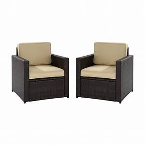Shop crosley furniture palm harbor 2 count brown wicker for Outdoor sectional sofa lowes