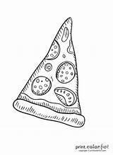 Pizza Slice Pepperoni Coloring Printable Toppings Fun sketch template