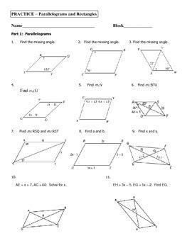geometry unit  parallelograms  rectangles practice