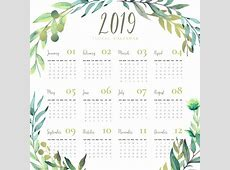 Floral 2019 calendar with watercolor leaves Vector Free