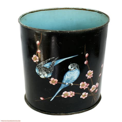 french hand painted floral bird waste basket