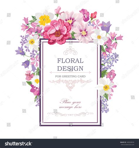 floral frame summer flowers floral bouquet stock vector