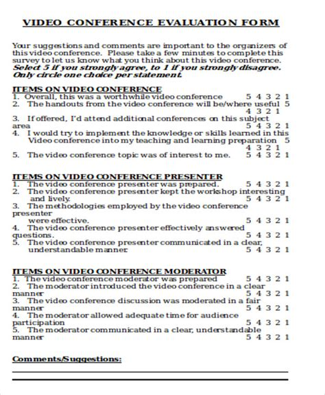 sample conference evaluation forms  ms word
