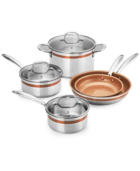 crux  pc stainless steel copper accent cookware set created  macys reviews cookware