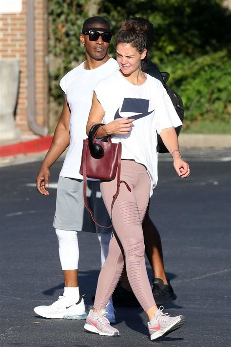 katie holmes and jamie foxx spotted leaving the gym in ...