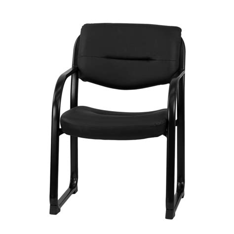 black leather executive side reception chair with sled