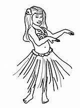 Coloring Pages Hula Hawaiian Dance Hand Wave Performing Clipart sketch template