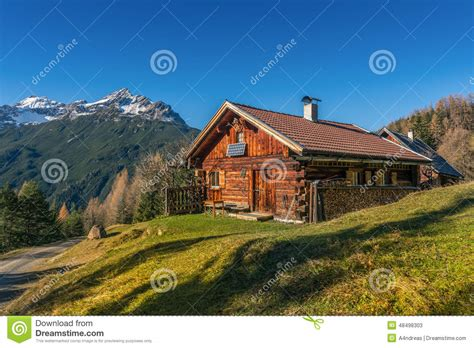 chalet style house plans wooden hut cabin in mountain alps stock photo image