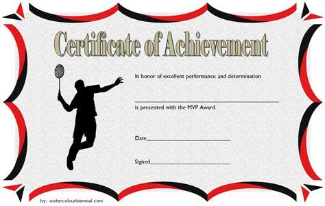 badminton achievement certificate templates  greatest