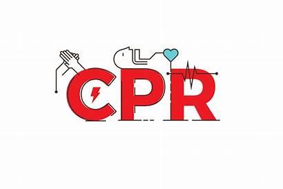 Cpr Word Training Vector Illustration Resuscitation Cardiopulmonary