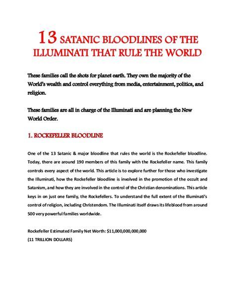 illuminati 13 bloodlines 13 satanic bloodlines