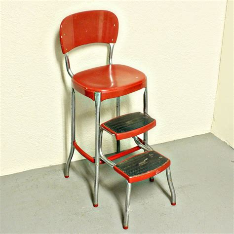 chair with step stool vintage stool step stool kitchen stool cosco chair