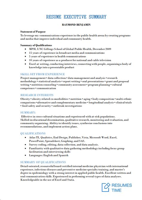 Resume Executive Summary Exle by Executive Level Resume Sles And Exles At Resumestime