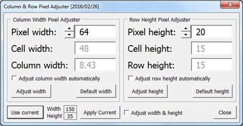 add   set column width  row height based  pixels