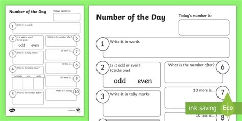 number of the day worksheet activity sheet new zealand