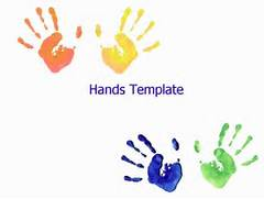 Kindergarten backgrounds powerpoint olivero template showing a number of child hand prints on a white background toneelgroepblik Images