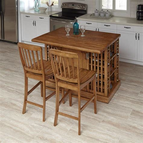Home Styles Vintner Warm Oak Kitchen Island With Seating