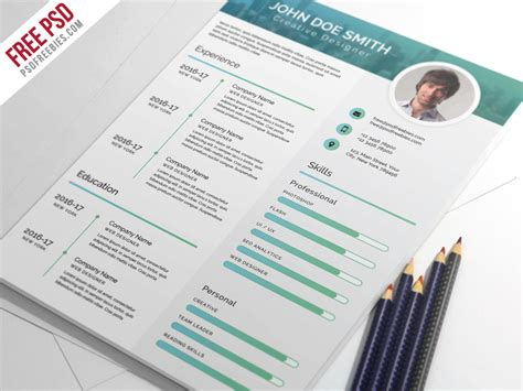 free psd and modern cv resume psd template by