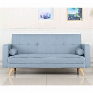 Canape convertible 3 places scandinave quotnavyaquot bleu clair for Canapé convertible scandinave pour noël ecole decoration interieur