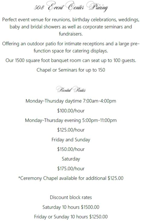 pricing  event center weddingsconferencesfunctions