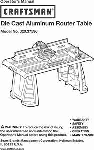 Craftsman 32037596 User Manual Router Table Manuals And