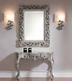 Console Table With Mirror Set by Console And Mirror Set In Silver Traditional Side