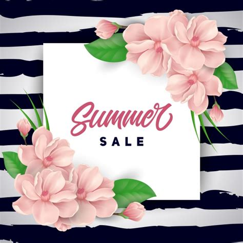 pink flowers summer sale background vector free