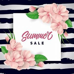 Pink flowers summer sale background Vector | Free Download