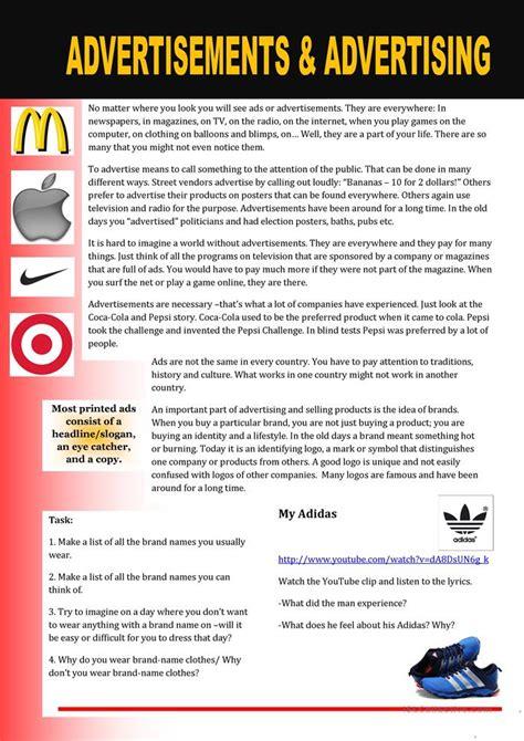 advertisements  advertising worksheet  esl