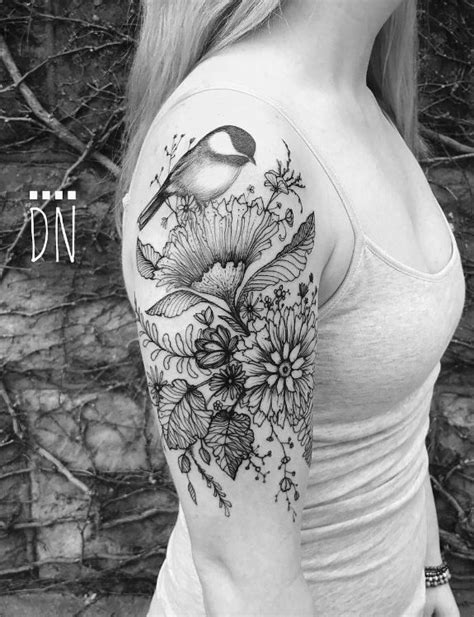 Chickadee on Wild Flowers Tattoo | Flower Tattoos | Wildflower tattoo, Chickadee tattoo, Flower