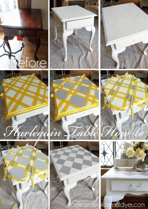 Kitchen Cabinets Refinishing Ideas - harlequin painted side table confessions of a serial do it yourselfer